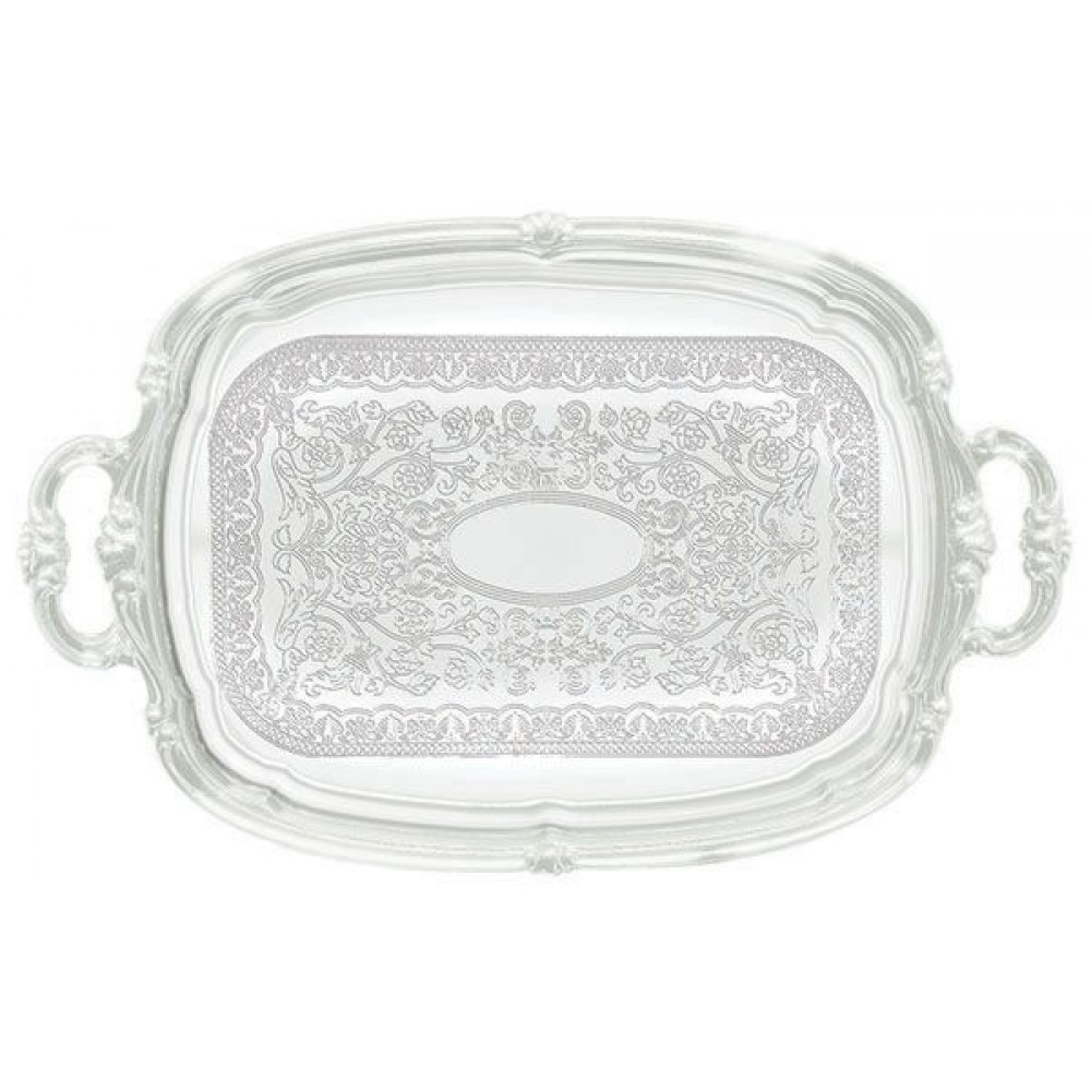 "Winco CMT-1912 Chrome-Plated Oblong Serving Tray with Handle 19-1/2"" x 12-1/2"""
