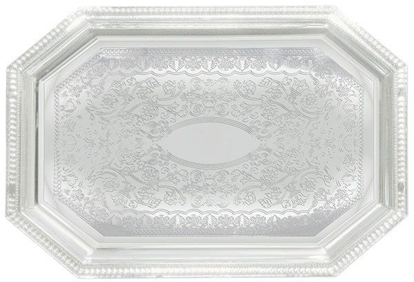 "Winco CMT-1217 Chrome Plated Engraved Octagonal Serving Tray, 17"" x 12-1/2"""