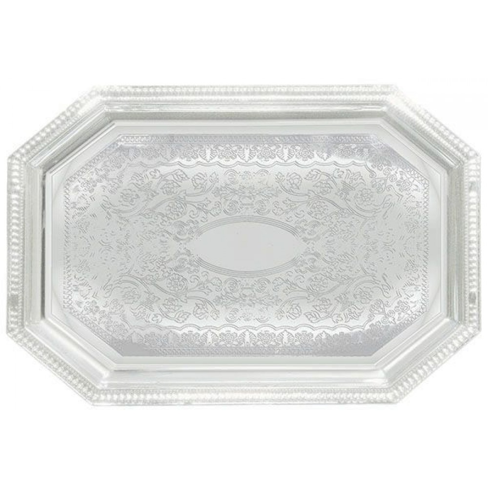 Chrome Plated Octagonal Serving Tray With Engraved Edge - 20 X 14