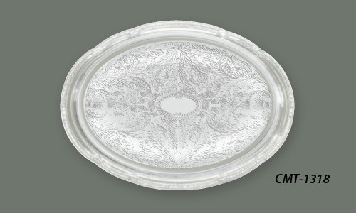 "Chrome Plated Engraved Oval Serving Tray, 14-3/4"" x 10-1/2"""