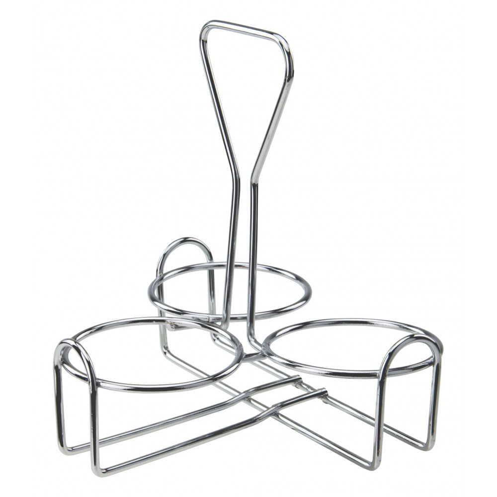 Chrome-Plated Wire 3-Ring Condiment Jar Holder Rack