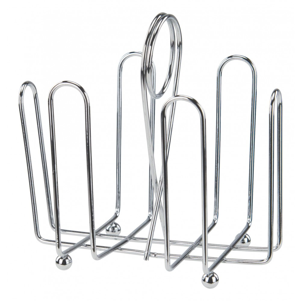 Chrome-Plated Wire Sugar Packet Holder Rack With Ball Feet/Center Clip