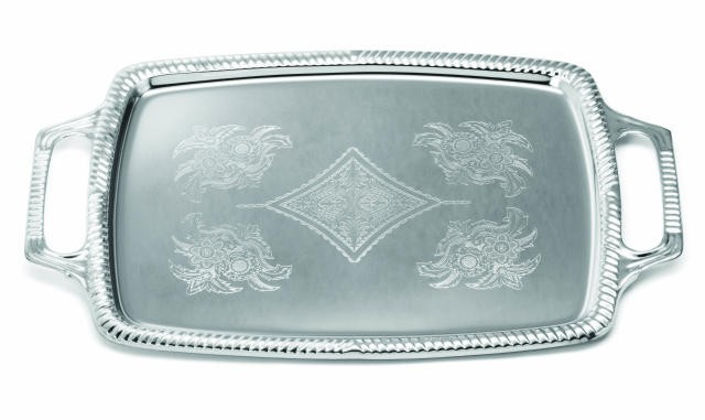 "TableCraft CT1220H Chrome Plated Rectangular Serving Tray 12-1/2"" x 19-1/2"""