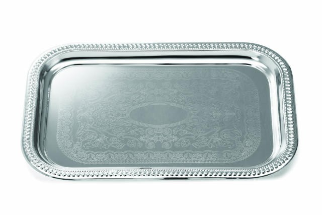 Chrome Rectangular Tray With Embossed Pattern - 18-3/4