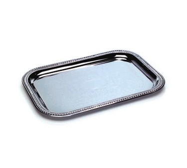 Chrome Rectangular Tray With Embossed Pattern - 21-5/8