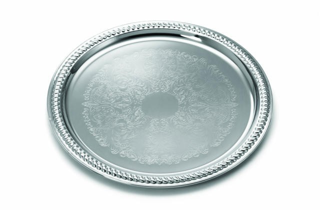 TableCraft CT13 Chrome Plated Round Embossed Serving Tray 12-3/4""