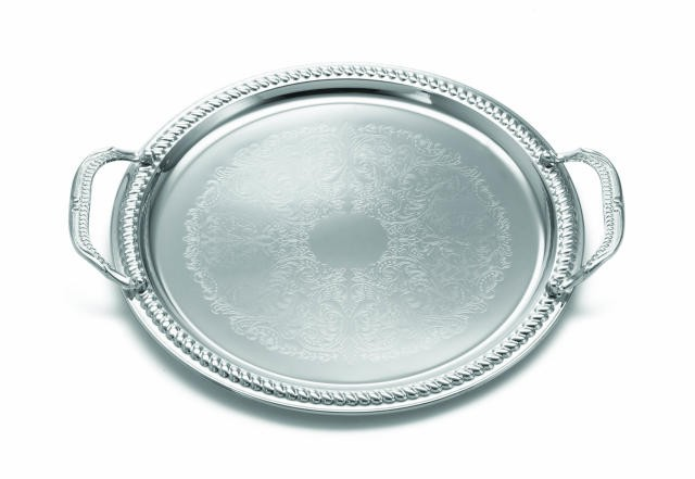 TableCraft CT13H Chrome Plated Round Embossed Serving Tray 15-1/4""