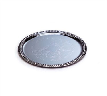Chrome Round Buffet Serving Tray With Embossed Pattern - 14