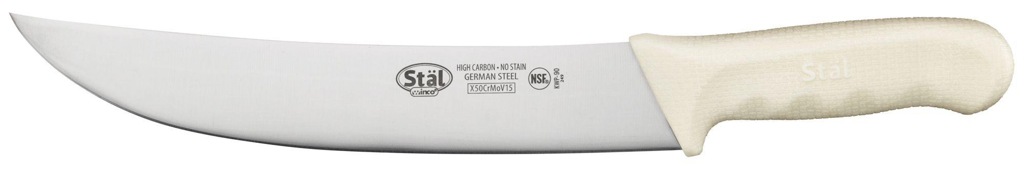 "Winco KWP-90 High Carbon Steel Cimeter Knife 9-1/2"""