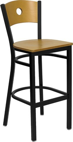 Circle Back Black Metal Bar Stool with Natural Wood Seat and Back