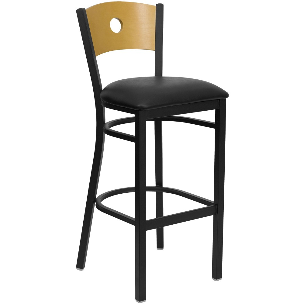 Circle Back Black Metal Bar Stool with Black Vinyl Seat and Natural Wood Back