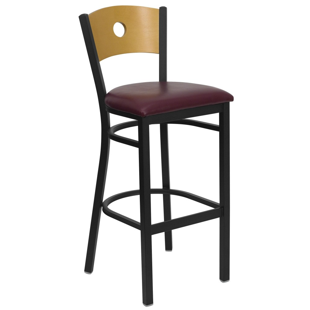 Circle Back Black Metal Bar Stool with Burgundy Vinyl Seat and Natural Wood Back