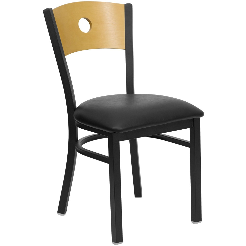 Circle Back Black Metal Restaurant Dining Chair with Black Vinyl Seat and Natural Wood Back