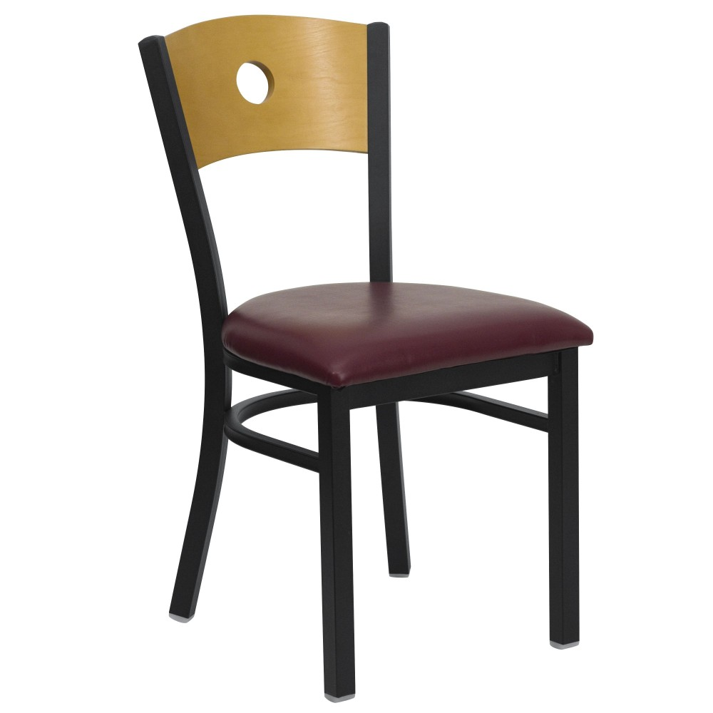 Flash Furniture XU-DG-6F2B-CIR-BURV-GG Circle Back Black Metal Restaurant Dining Chair with Burgundy Vinyl Seat and Natural Wood Back