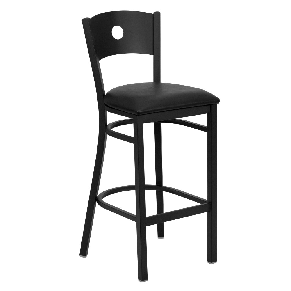 Circle Back Metal Restaurant Barstool with Black Vinyl Seat - Black Powder Coat Frame