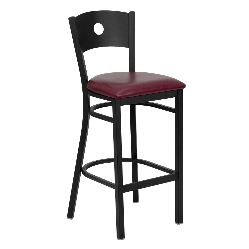 Circle Back Metal Restaurant Barstool with Burgundy Vinyl Seat - Black Powder Coat Frame
