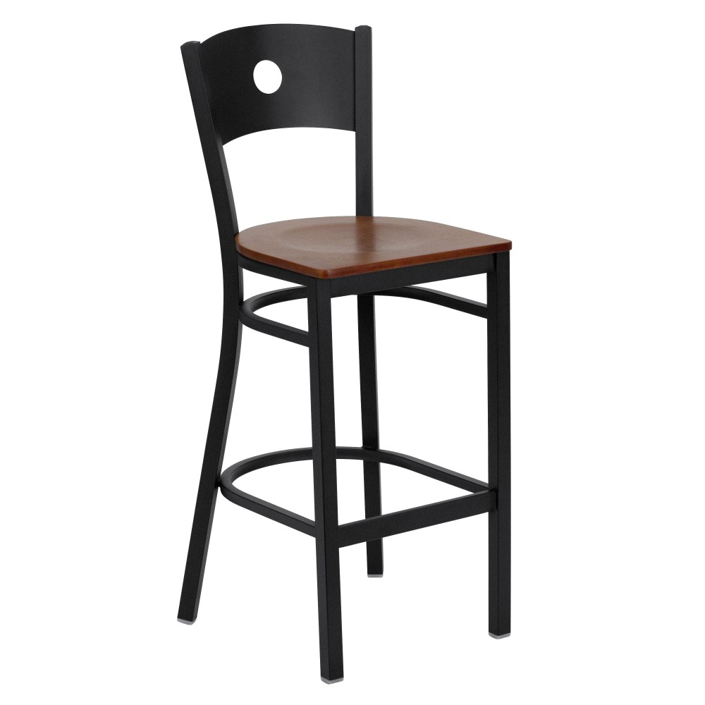 Circle Back Metal Restaurant Barstool with Cherry Wood Seat - Black Powder Coat Frame