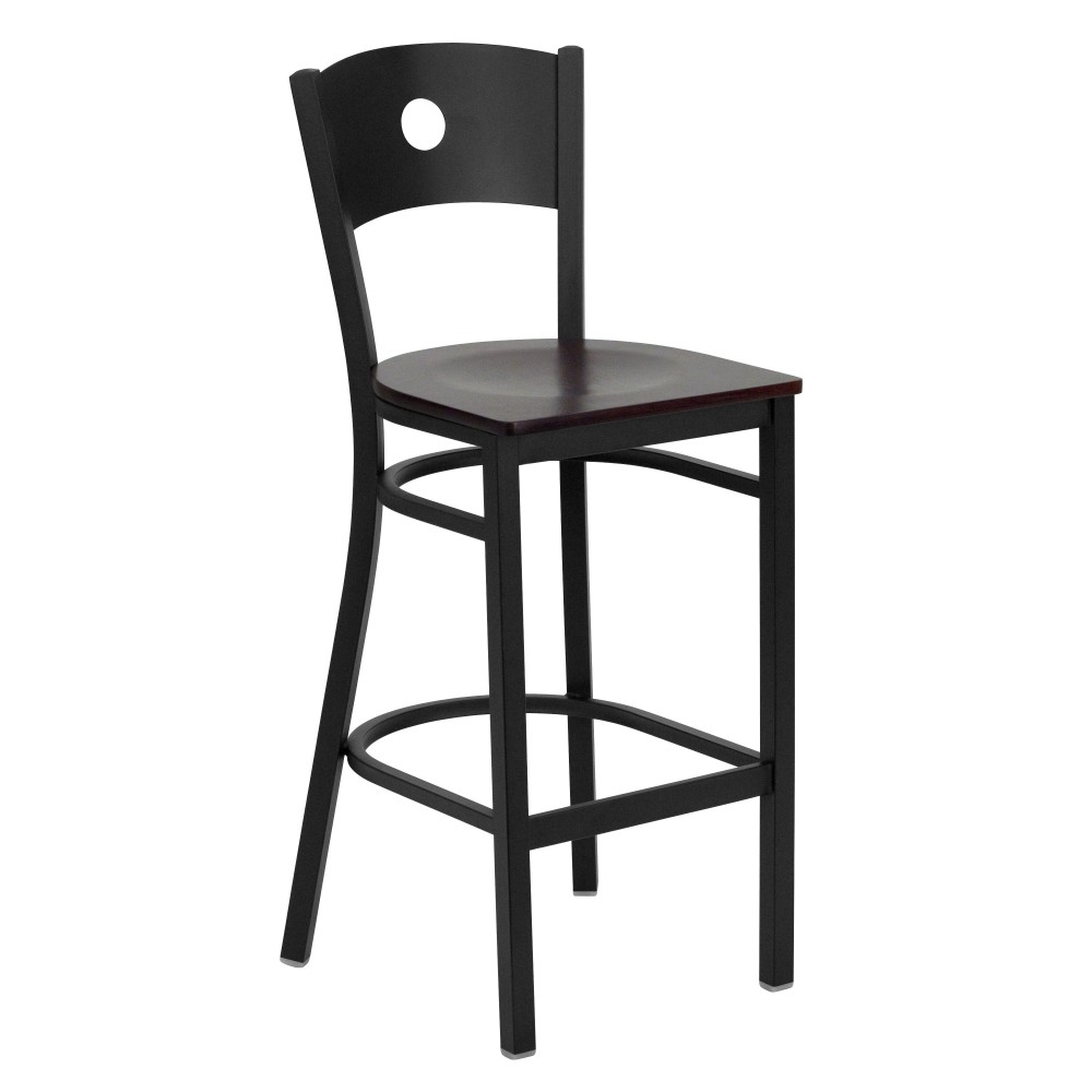 Circle Back Metal Restaurant Barstool with Mahogany Wood Seat - Black Powder Coat Frame