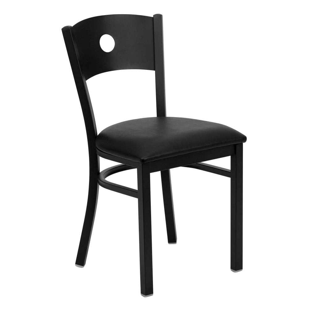 Circle Back Metal Restaurant Chair with Black Vinyl Seat - Black Powder Coat Frame