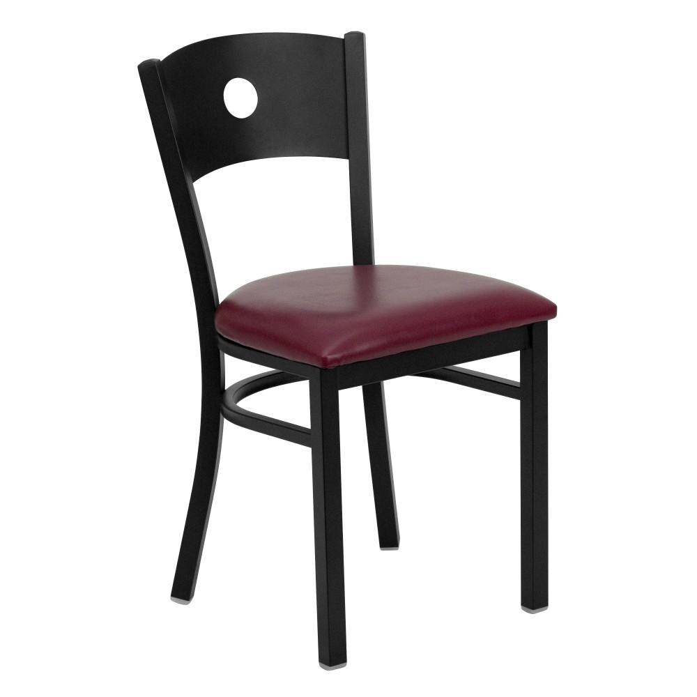 Circle Back Metal Restaurant Chair with Burgundy Vinyl Seat - Black Powder Coat Frame