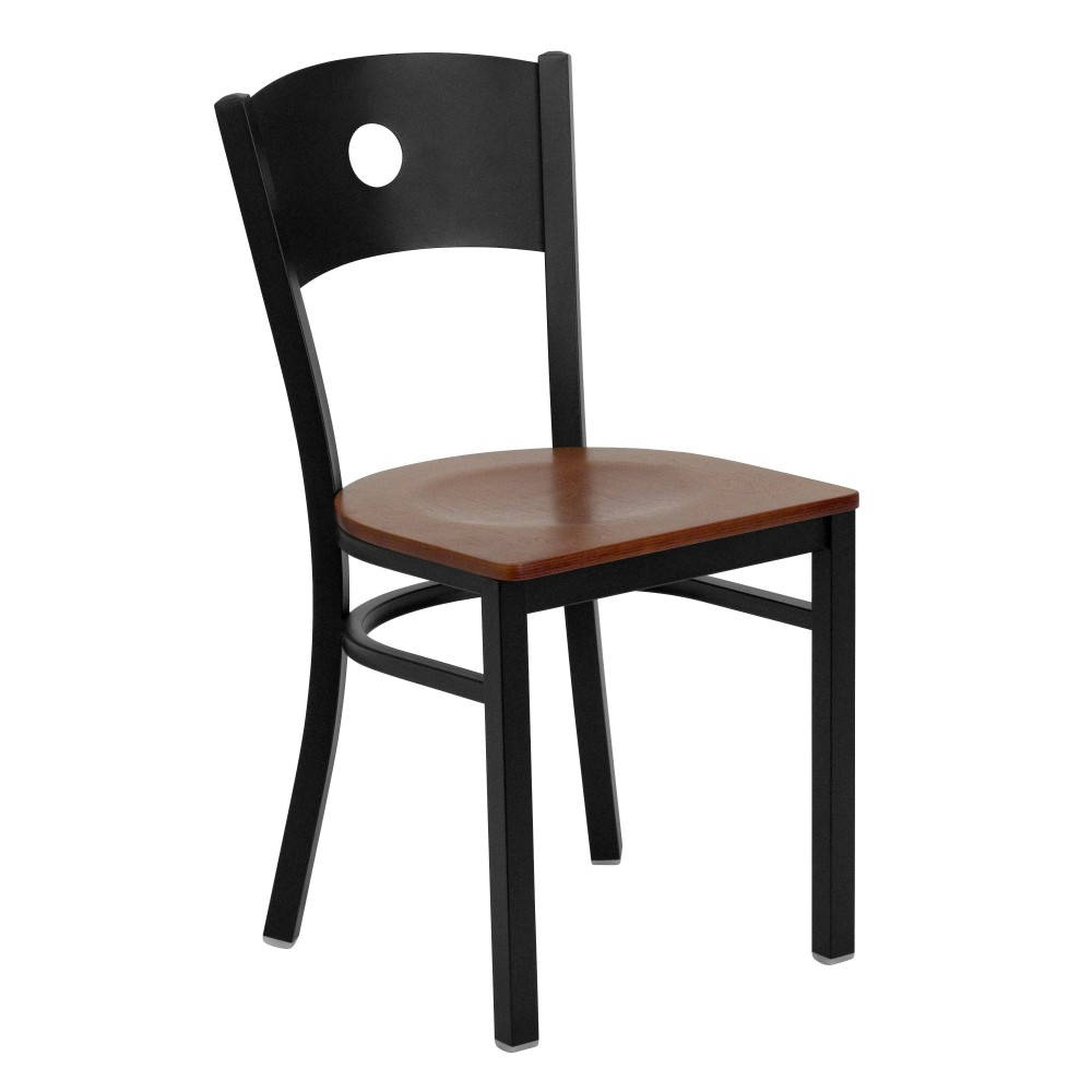 Flash Furniture XU-DG-60119-CIR-CHYW-GG Circle Back Metal Restaurant Chair with Cherry Wood Seat Black Powder Coat Frame