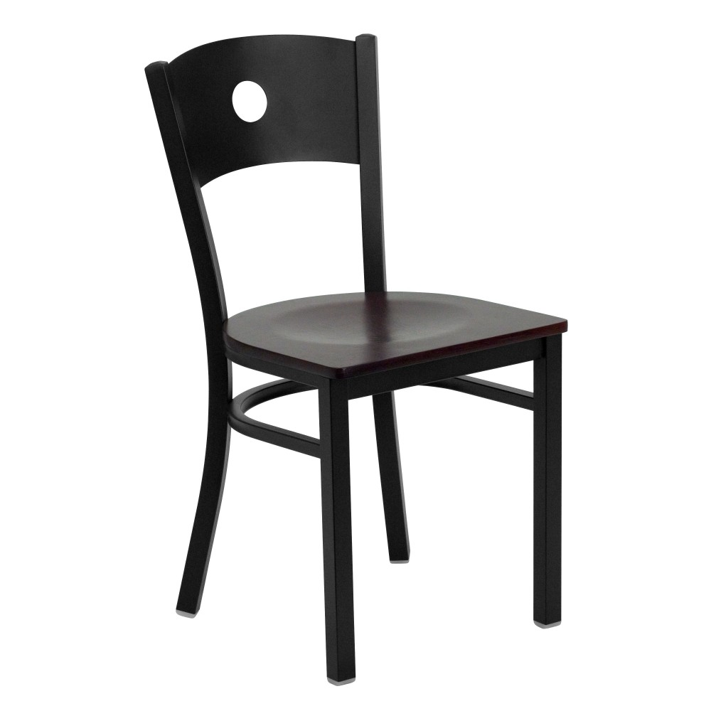 Circle Back Metal Restaurant Chair with Mahogany Wood Seat - Black Powder Coat Frame