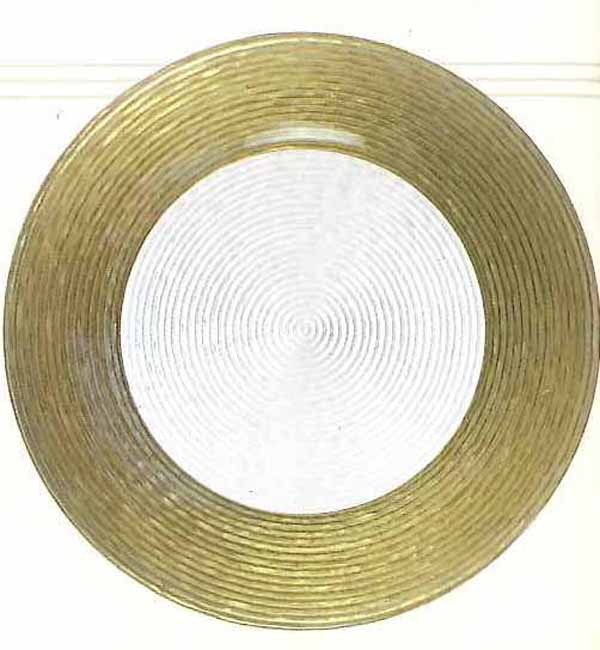 "Jay Import 1470276 Circus Gold Border 12.5"" Round Charger Plate"