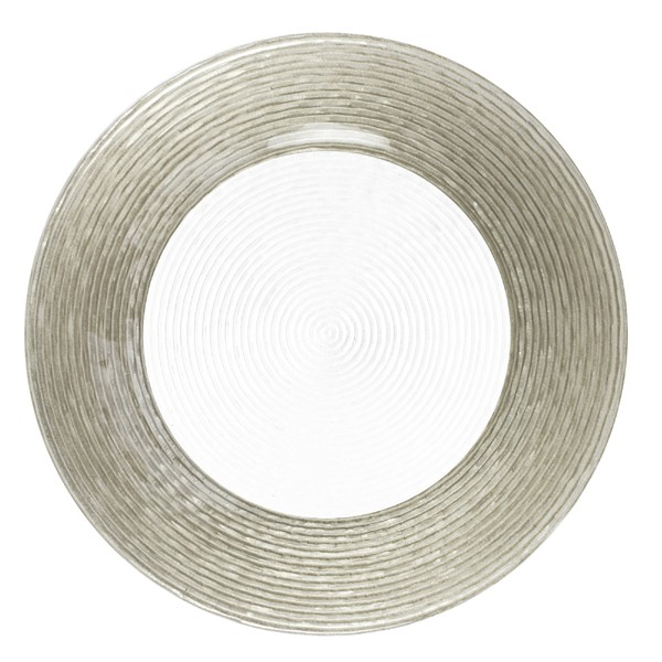 "Jay Import 1470275 Circus Silver Border 12.5"" Round Charger Plate"