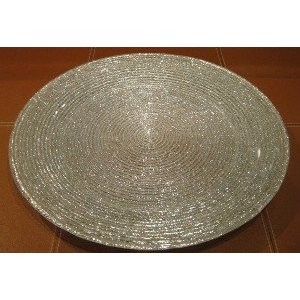 "Jay Import 1470063 Circus Silver Glitter 12.5"" Charger Plate"