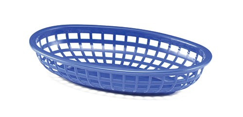 "TableCraft 1074BL Blue Classic Oval Plastic Basket, 9-3/8"" x 6"" x 1-7/8"""