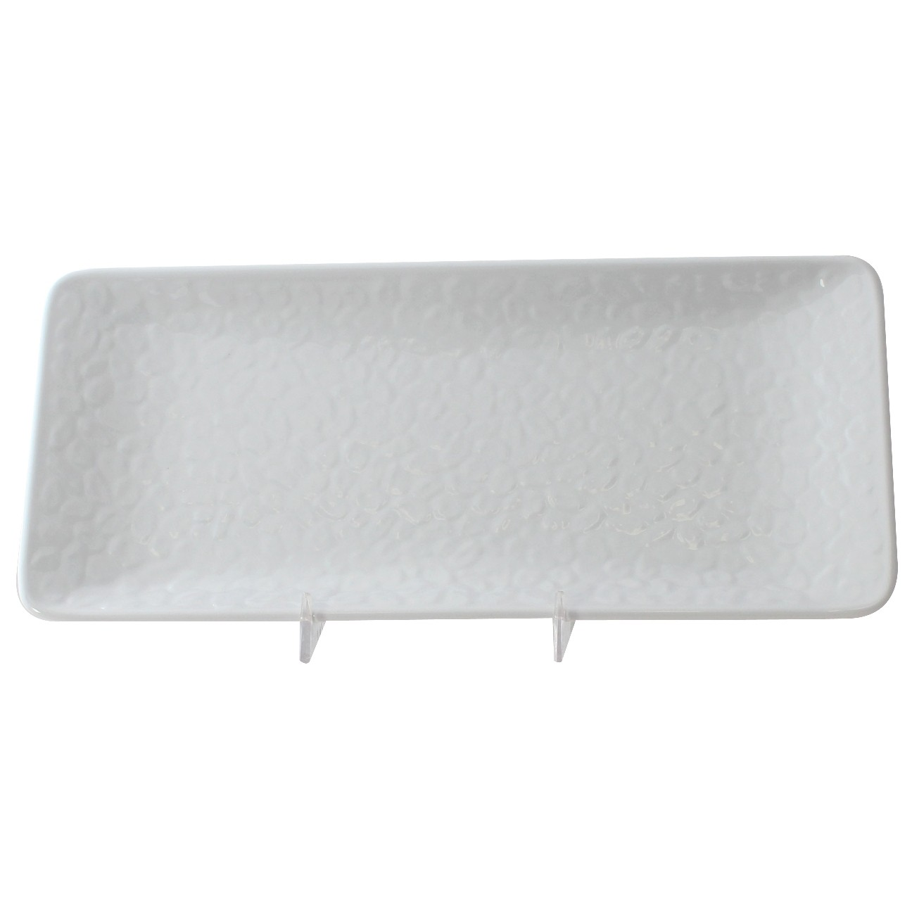 "Thunder Group 24110WT Classic White Rectangular Melamine Plate 11-1/4"" x 5"""