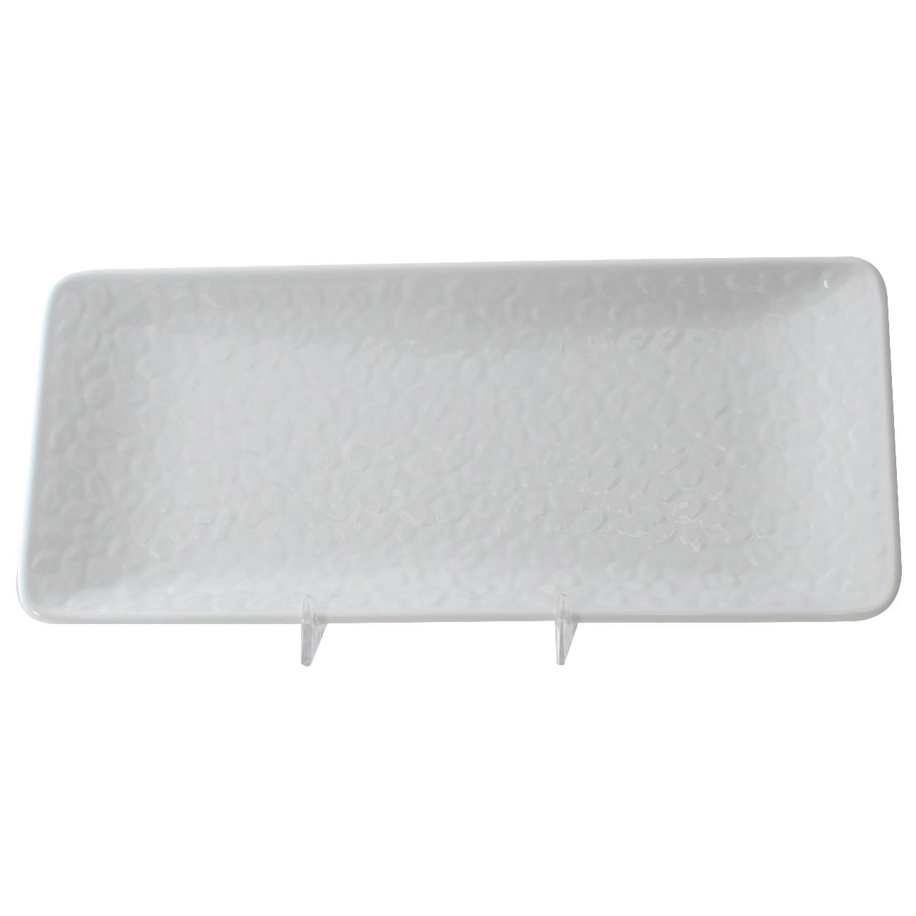 Classic White Melamine Rectangular Plate, 11-1/4