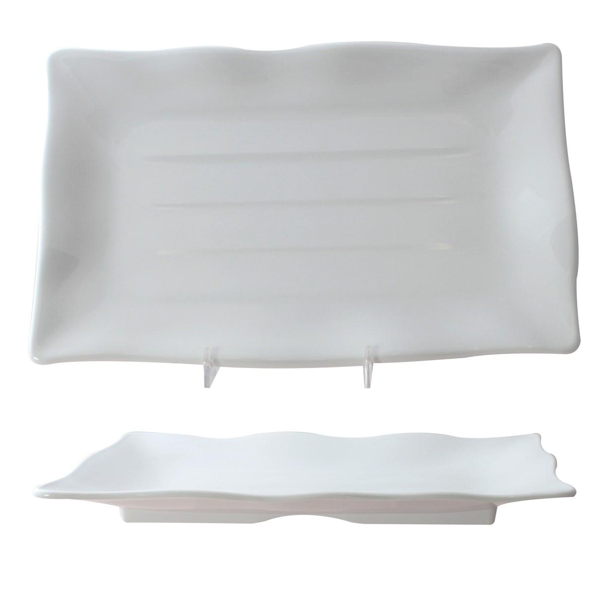 "Thunder Group 24120WT Classic White Rectangular Melamine Wave Plate 11-1/4"" x 7-1/4"""