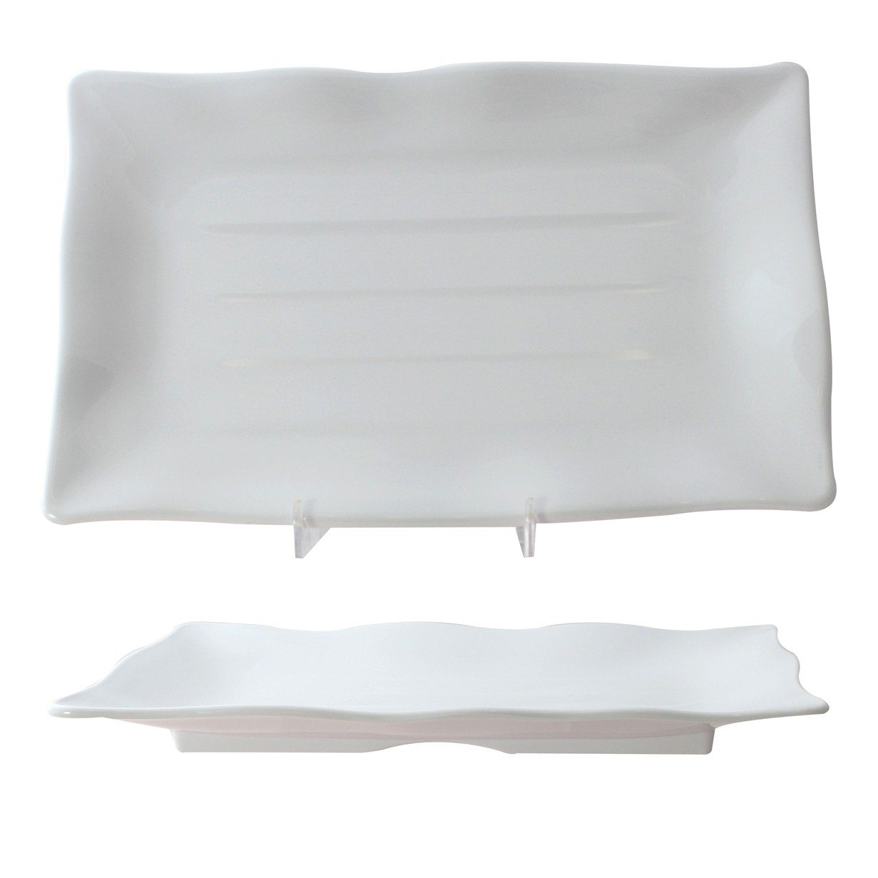 Classic White Melamine Wave Rectangular Plate, 13-1/2