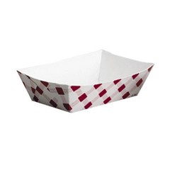 Clay Coated Paper Food Tray, Red Plaid, 1 Lb, 250/4
