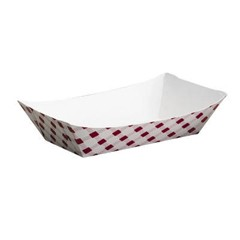 Clay Coated Paper Food Tray, Red Plaid, 5 Lb, 250/2