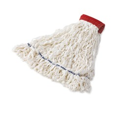 Clean Room Mop Heads, Rayon, Looped-End, White, Medium