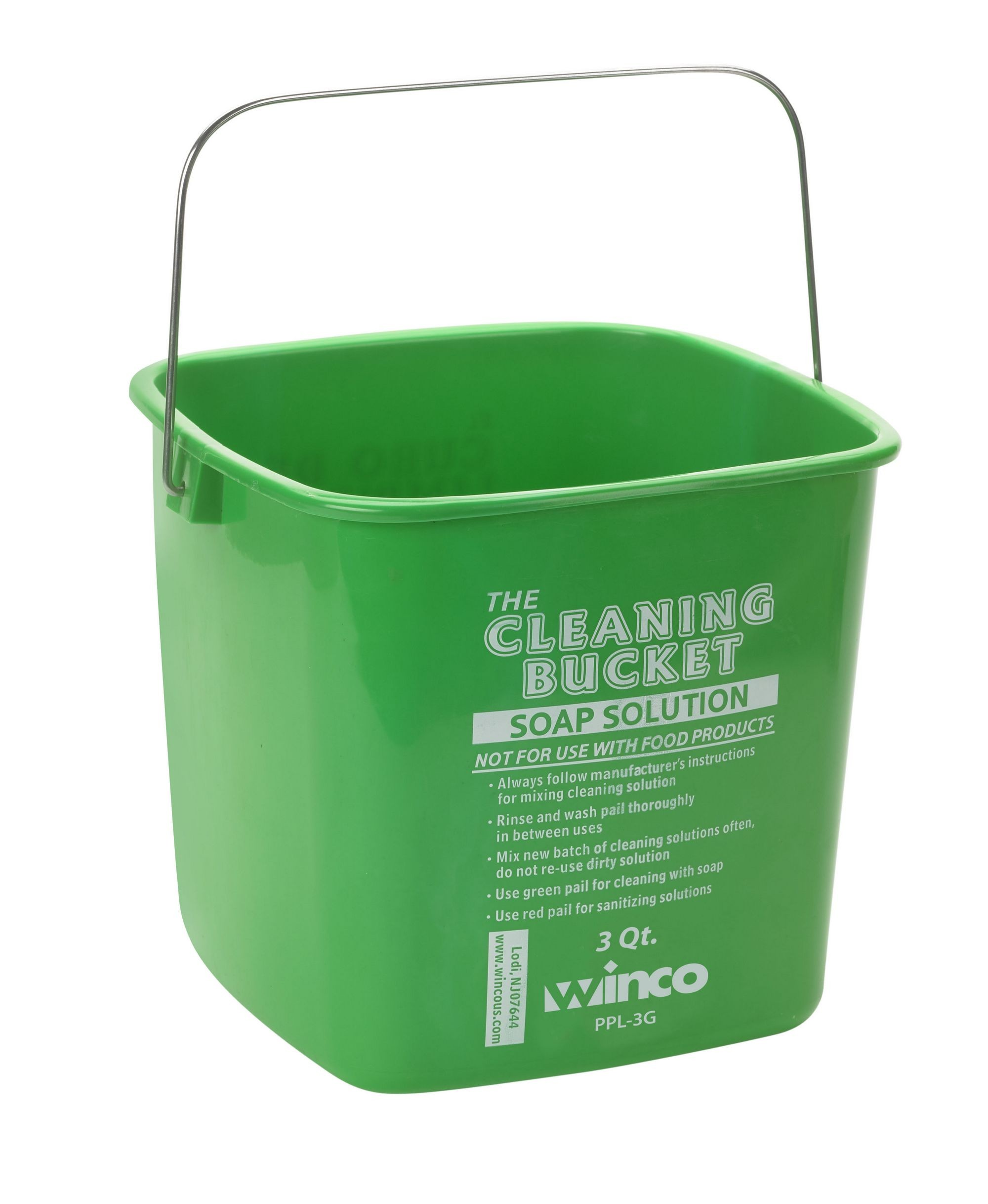 Winco PPL-3G Cleaning Bucket 3 Qt. Green Soap Solution