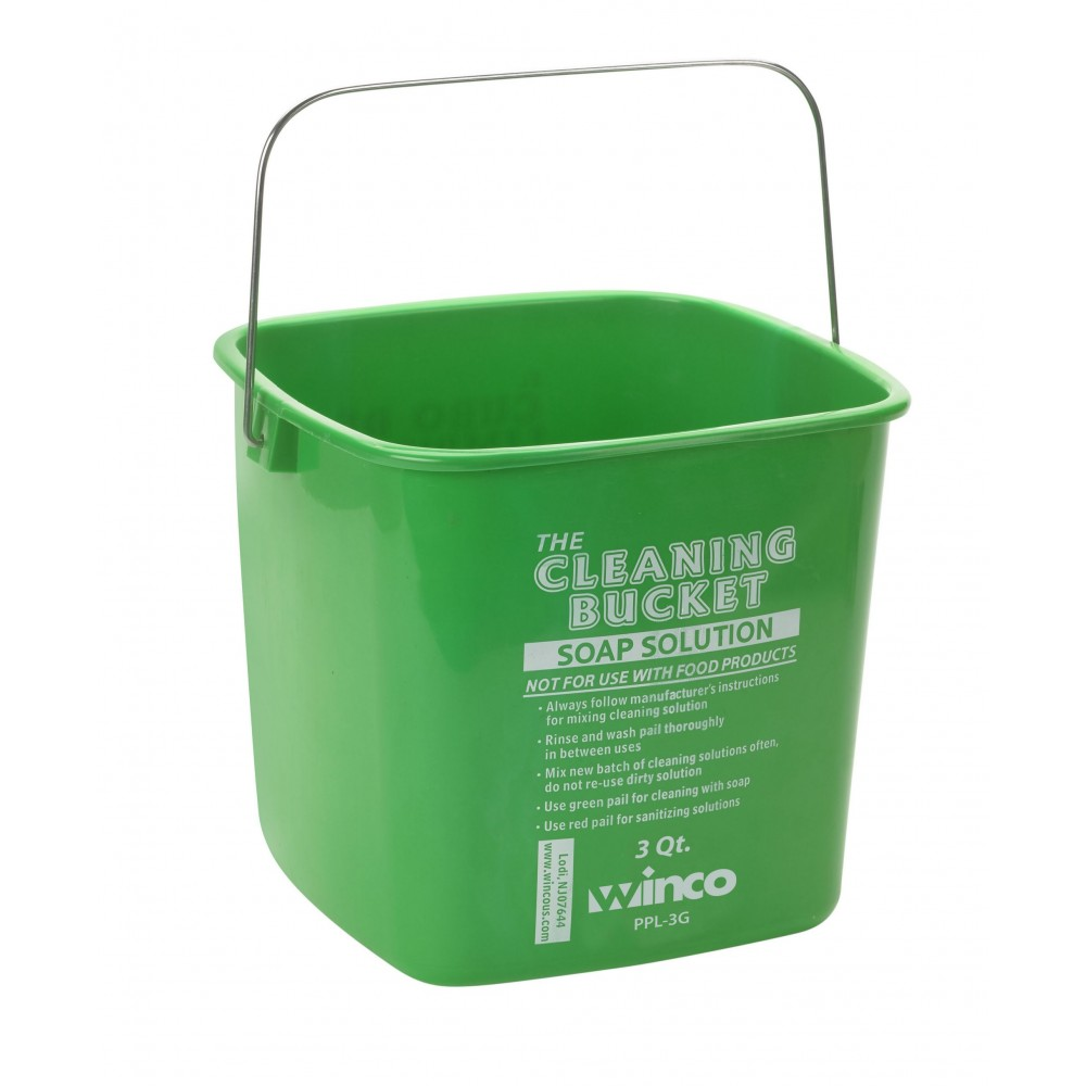 Cleaning Bucket, 3 Qt, Green Soap Solution