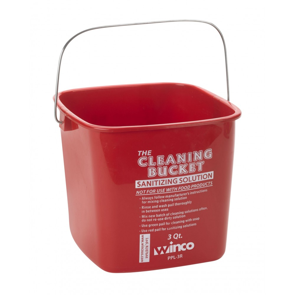 Cleaning Bucket, 3 Qt, Red Sanitizing Solution