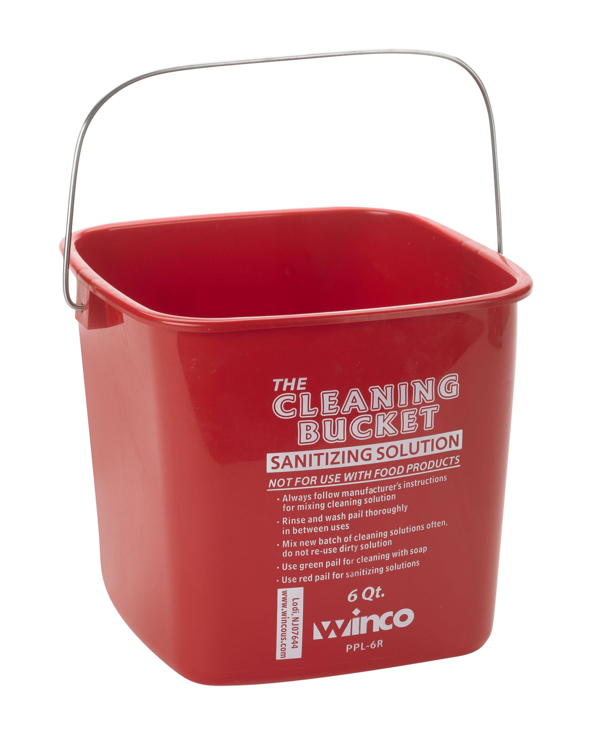 Winco PPL-6R Cleaning Bucket 6 Qt. Red Sanitizing Solution