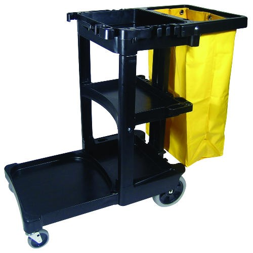 Cleaning Cart with Zippered Yellow Vinyl Bag, Black