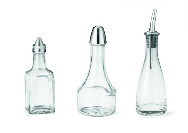 Clear 6 Oz. Oil/Vinegar Bottle With Stainless Steel Pourer