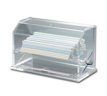 "TableCraft 227 Clear Acrylic Straw Dispenser 12-1/4"" x 5-1/2"" x 6-3/4"""