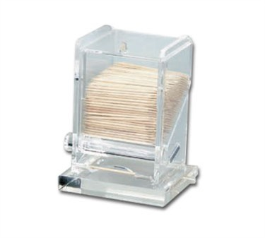 "TableCraft 228 Clear Acrylic Toothpick Dispenser 3-1/4"" x 3-1/4"" x 4"""