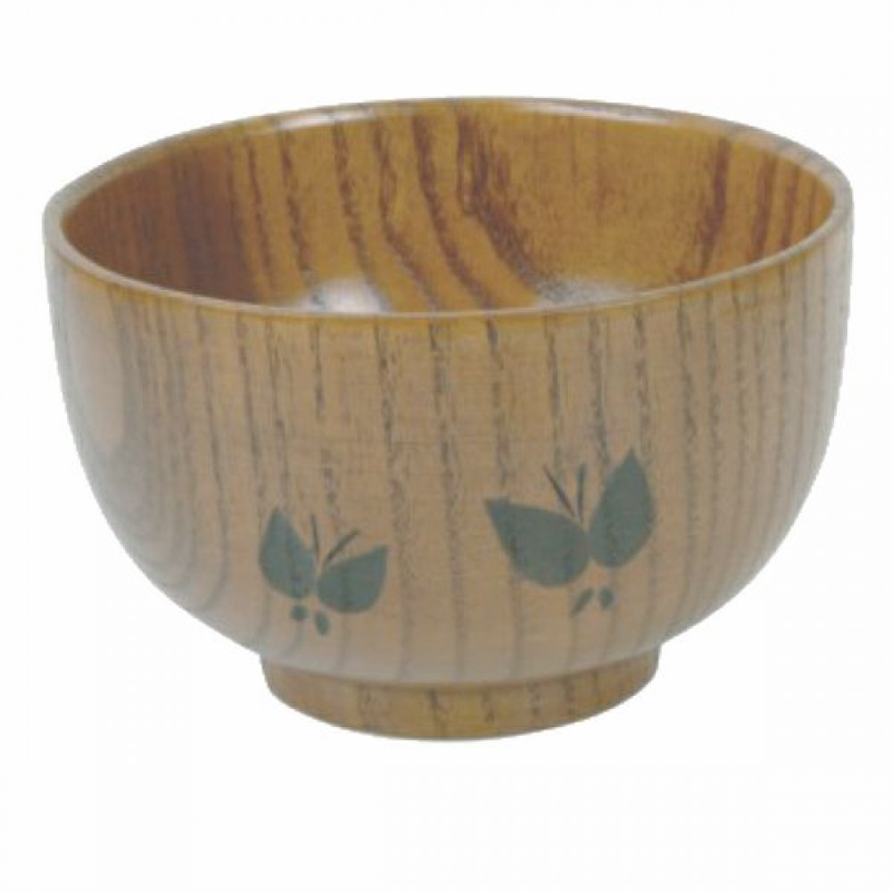 Clear-Finish Carved Wood Soup/Rice Bowl - 5-1/8
