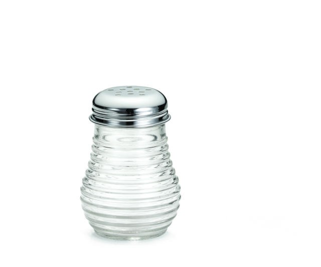 TableCraft BH4 Clear Glass 6 oz. Cheese/Pepper Shaker with Chrome-Plated Top