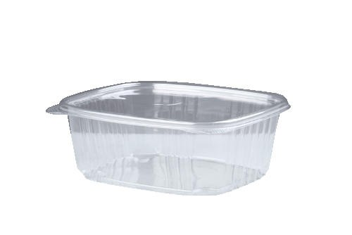 Clear Hinged Deli Container, Plastic, 48 oz, 8 x 8-1/2 x 2-1/2, 100/Bag