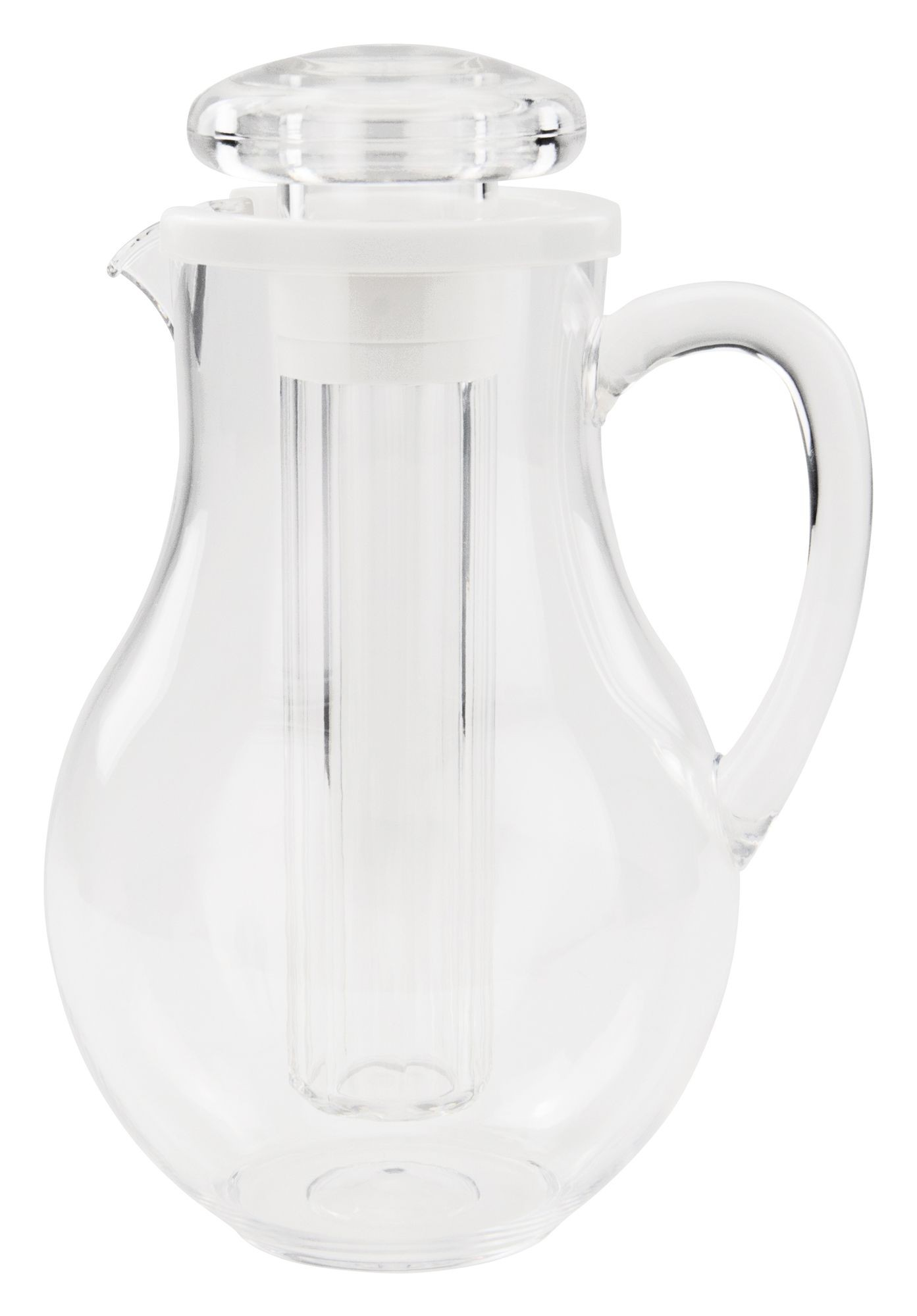 Winco WPIT-19 Clear Plastic 64 oz. Polar Pitcher with Ice Chamber