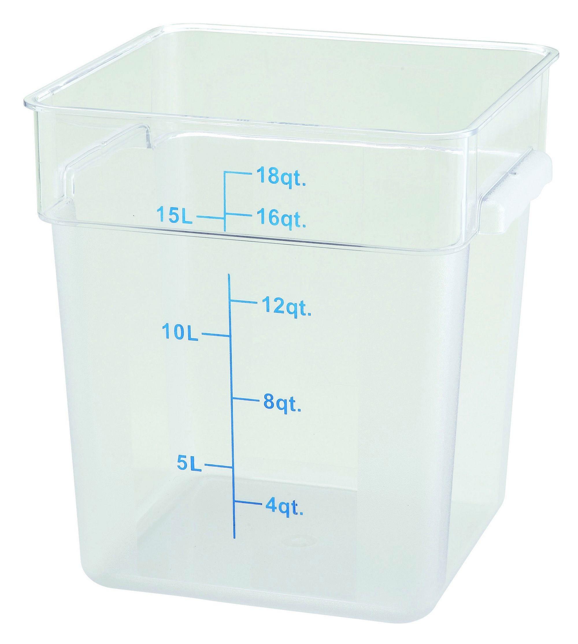 Winco PCSC-18C Polycarbonate Square Food Storage Container 18 Qt.